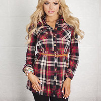Twisted Belt Plaid Tunic Red CLEARANCE