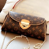 Hipgirls LV New fashion monogram leather chain shoulder bag crossbody bag Coffee