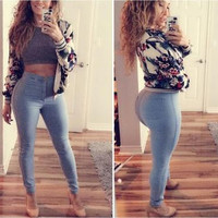 Hot Popular Women Slim High Waisted Pants a12898