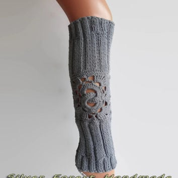 Gray Stylish leg warmers Women's fashion accessories boot cuffs knee high socks perfect gift