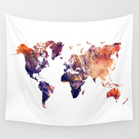 World map Wall Tapestry by Jbjart | Society6