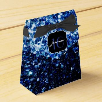 Beautiful Blue sparkles Sweet 16 favor box by PLdesign