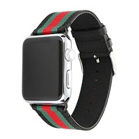 Apple Watch Band, Huanlong Nylon with Genuine Leather Sport Replacement Strap Wrist Band with Metal Adapter Clasp for 38mm Apple Watch / Sport /Edition (38mm-Red/Green/Black)