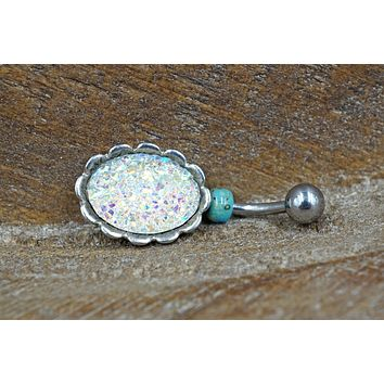 Sparkly White Druzy Belly Button Ring