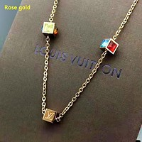 Louis Vuitton LV Fashion New Diamond Women Personality Necklace Accessories Rose Gold