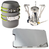 Outdoor Camping Hiking Backpacking Picnic Cookware Cooking Tool Set Pot Pan +  Canister Stove + Aluminum Wind Deflector