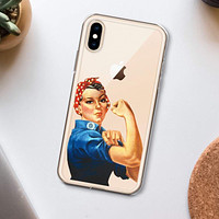 Rosie The Riveter Clear Phone Case