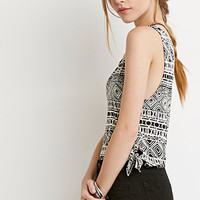 Tribal Print Knotted Tank