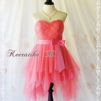 Cinderella Party - Sweet Princess Cinderella Dress French Rose Pink Cocktail Dress Strapless Party Wedding Bridesmaid Dress Prom Dress M/L