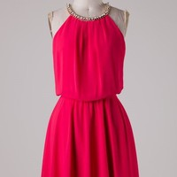 Red Dress with Rhinestone Detail
