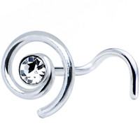 Sterling Silver Swirl Clear Nose Ring Made with SWAROVSKI ELEMENTS   Body Candy Body Jewelry