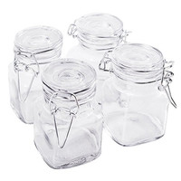 "3 1/4"" Square Glass 3oz Jar with Hinge Glass Lid for Home Kitchen, Arts & Crafts Projects, Decoration, Snack Foods and Sauces (4 Pack) by Super Z Outlet"