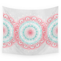 Society6 Teal & Coral Glow Medallion Wall Tapestry