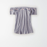 AE Soft & Sexy Fitted Off-The-Shoulder T-Shirt, Gray