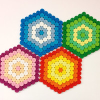 4 colorful coasters, set of paper drink coasters, paper quilling, hexagon coasters with circles, four colors available, house warming gift