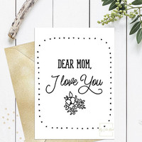 Mothers day printable card black and white kraft, Cute pretty DIY Mothers day card from daughter, Simple mothers day gift, Instant download