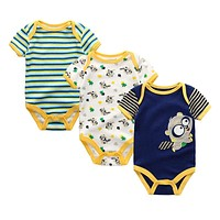 3PCS/LOT Newborn Girl Boy Baby Clothes High Quality Cute 100%Cotton Short Sleeve Baby Rompers Roupas de bebe Infantil Costumes