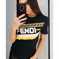 Fendi 2019 new women's round neck short sleeve bottoming shirt Black