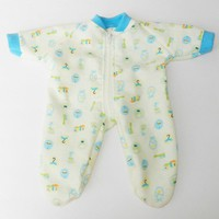 """BITTY BABY BOY Clothes, doll clothes, 15"""" twin, yellow blue baby print flannel pajamas pjs sleeper, zip up,  handmade by adorabledolldesigns"""