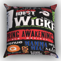 Broadway Musical Collage Zippered Pillows  Covers 16x16, 18x18, 20x20 Inches