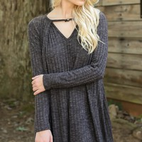 Small Town Girl Charcoal Grey Dress