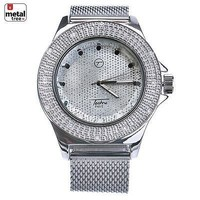 Jewelry Kay style Men's Iced Heavy Large Silver Plated Mesh Band Bling Hip Hop Watches WM 7128 S