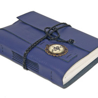 Purple Leather Wrap Journal with Cameo Bookmark  - Ready To Ship