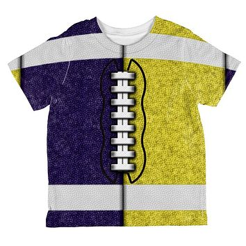 Fantasy Football Team Navy and Yellow All Over Toddler T Shirt