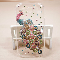Handmade Bling Peacock for SAMSUNG Galaxy SIII s3 I9300 hard cover, s2 i9100 phone case