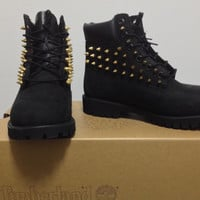 Custom Spiked Black Timberland Boots, Size 6Y, Free Shipping