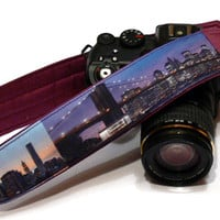 NewYork Camera Strap. DSLR Camera Strap. Purple Camera Strap. Canon Nikon Camera Strap. Camera Accessories