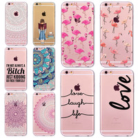 7 6s Animals Transparent Case For Iphone 7 6 6s Floral Paisley Grils Flamingo Love Words Phone Cover TPU Silicone Fundas Cases