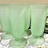 Sundae Parfait Glass Green Frosted Dessert Set of 4 Indiana Vintage blm