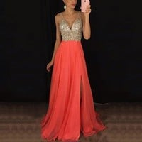 Women Formal Wedding Bridesmaid Party Long Maxi Dress Elegant Luxury sexy deep V strap patchwork sequin split dresses vestido