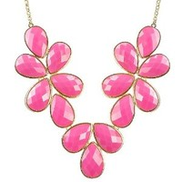 Rosy Resin Necklace Drop Shape Necklace Hot Pink Bubble Jewelry Cluster Necklace (Fn0621-Rosy) (Rosy)