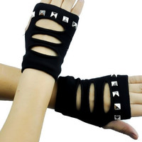 Black Cut Out Torn Fingerless Gloves with Pyramid Studs
