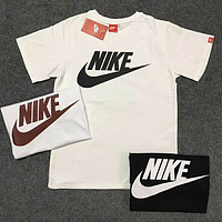 NIKE Sports Casual Breathable Sweat Crew Neck Short Sleeve T-Shirt F-Great Me Store White+Black logo