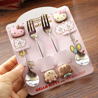 Hot sales Kawaii Hello Kitty Twin Star Melody 4 Pieces Stainless Steel Coffee Spoon Fork Dinnerware Set Children Gift Tableware