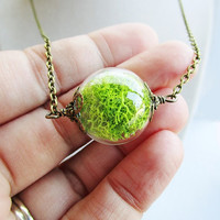 Green Moss Filled Glass Orb Terrarium Necklace, Small Orb In Bronze or Silver, Hipster Jewelry