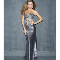 Night Moves by Allure 2014 Homecoming Dresses - Pewter Bead Lace & Sequin Sheer Strapless Prom Dress