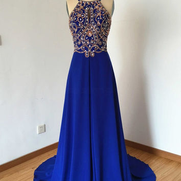 Royal Blue Spaghetti Straps Prom Dresses,Evening Dresses