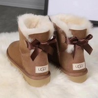 UGG girl Large bow tie Keep warm Snow boots-1