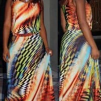 Colorful Scoop Neck Sleeveless Printed Women's Maxi Dress