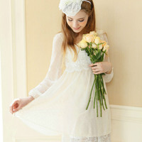 [Free Shipping to USA] Long Sleeve Chiffon Dress - SE2201