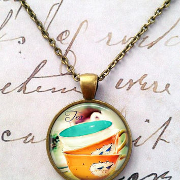 Tea Time Necklace, Steampunk, Alice in Wonderland, Mad Hatter, Once Upon a Time T48