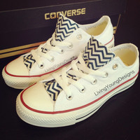 Chevron Custom Converse Navy Blue White by LivingYoungDesigns