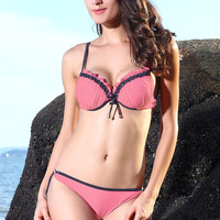 Pink Ruched Push Up Bikini Swimsuit with Black Details