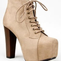 Speed Limit 98 ROSA Designer Inspired Lita Style Chunky High Heel Lac Ankle Bootie, Taupe, US 8