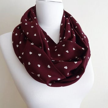 Heart Pattern Viscose Infinity scarf Claret Red Tube scarf, Circle scarf, Loop scarf, scarves, spring - fall - winter fashion