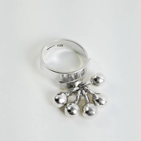 Taxco Sterling Ball Ring - Moving Ball Ring Size 8 - Silver Band with Silver Balls Ring - Vintage Sterling Ring